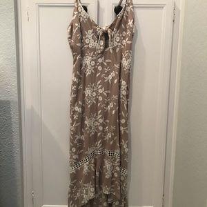 ASTR the label beige floral embroider dress